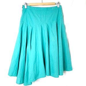 Anthropologie Odille Teal Asymmetrical Skirt